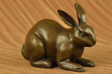 Real BRONZE RABBIT SCULPTURE! JACK RABBIT, HARE HOT CAST FIGURINE FIGURE DECOR