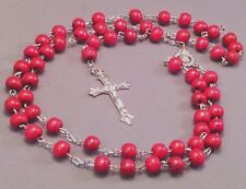 Rosary Necklace 8mm Wood Bead Silver Detail Crucifix Chain Center PINK Low Stock