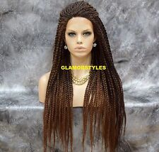 "36"" Black Auburn Mix Box Braided Full Lace Front Wig Poetic Justice Hair Piece"