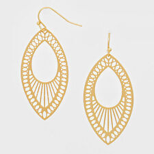 "Filigree Earrings Cut Out Sunburst Teardrop M GLD  2"" Chandelier Hanging Jewelry"