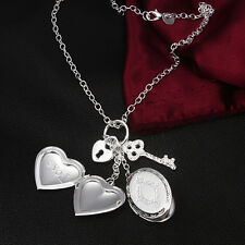 OPENABLE LOCKET KP6 925 STERLING SILVER 2 HEART PATTERNED  KEY+LOCK NECKLACE