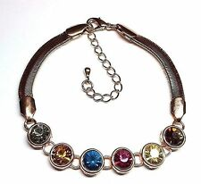 """Multicolored Glass Rose Gold-finished 7-1/2"""" Bracelet w/ 2-1/4"""" Extender Chain"""