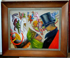 VINTAGE SURREALISM OIL PAINTING ON BOARD by RUTH GRAY-FRAMED-MASQUERADE BALL!