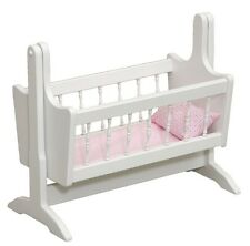 BABY DOLL ROCKING CRADLE BED Amish Handcrafted Doll Furniture Bitty Reborn WHITE