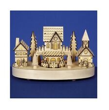 Christmas Decoration - Premier 27cm Musical Rotating Wooden Houses Scene Village