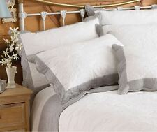 BORDER FLORAL WHITE GREY EMBROIDERED QUILTED COTTON PILLOWSHAM 50CM X 75CM