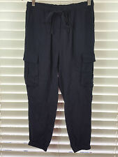 WITCHERY sz 10 womens soft cargo pants in NAVY BLUE