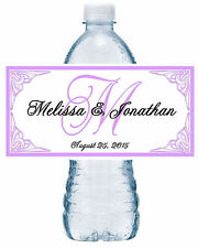 50 LAVENDER MONOGRAM WEDDING WATER BOTTLE LABELS  Waterproof Ink