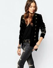 $245 Denim&Supply Ralph Lauren BLACK VELVET MILITARY OFFICER JACKET-WOMEN- L