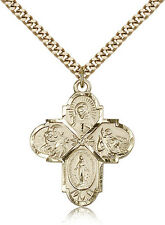 """Gold Filled Four Way Cross Necklace For Men On 24"""" Chain - 30 Day Money Back ..."""