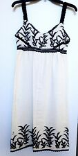 Anna Sui Empire Waist Embroidered Cream Dress With Black Lace Size 4 New