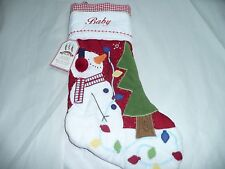 Pottery Barn Stocking Snowman DEFECT  Baby or Daddy