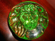 Green Vaseline Lion head uranium glass figure ornament animal paperweight glows