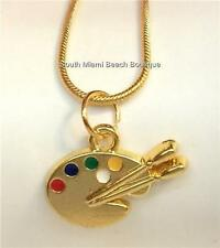 Gold Plated Artists Palette Necklace Pallet Artist Art Teacher Gift Enamel USA
