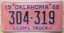 Oklahoma 1968 COMMERCIAL TRUCK License Plate # 304-319