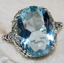 5CT Aquamarine 925 Solid Sterling Silver Victorian Style Filigree Ring Sz 7