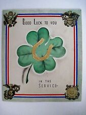 Vintage WWII Gook Luck Card w/ a Gold Horseshoe & Green Shamrock *