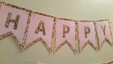Happy Birthday Banner in Pink and gold