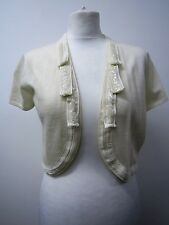 Woments Cream Pure Merino Wool Short Sleeve Bolero, Shrug by Monsoon. Size 14