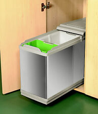 Kitchen Pull out 26L Recycle Kitchen Waste Bin 400mm Unit 2 Bins Stainless Steel