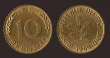 GERMANIA GERMANY 10 PFENNIG 1969 F