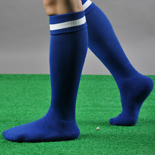 MENS SPORT FOOTBALL SOCCER STRIPED LONG SOCKS KNEE HIGH LARGE HOCKEY RUGBY
