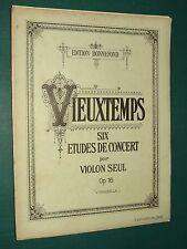 """Partition Violon """"Six études de concert"""" Op. 16  VIEUXTEMPS"""