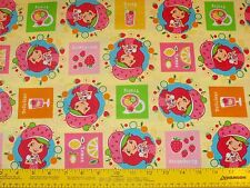 """Strawberry Shortcake """"Tasty"""" Fabric Sewing Quilting BTY 100% Cotton"""