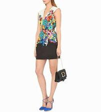 NEW Roberto Cavalli Floral Print Cotton Short Dress Flower/Power UK6 IT38