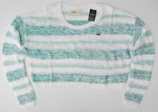 New Hollister Abercrombie Point Dume Sweater Green Stripe Womens Size Large