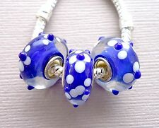 Blue Lampwork Murano Glass Beads 3pc Fit European Charm Bracelet Necklace G21