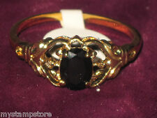 WOMENS GENUINE BLACK ONYX DIAMOND GOLD RING SZ 8 NEW