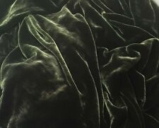 Silk VELVET Fabric DARK OLIVE GREEN by the yard 45""