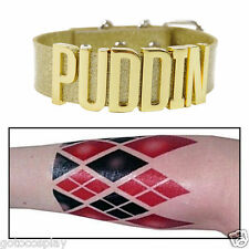 Harley Quinn Golden Cosplay Choker Suicide Squad Puddin Neck Collar + Arm Tattoo