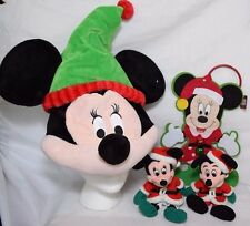 Christmas Lot Disney Mickey Minnie Mouse Singing Hat Plush Beanies Door Hanger
