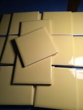 NOS Vintage Ceramic Tile Shiny Bright Yellow 18 pcs Bathroom RestorationLM7