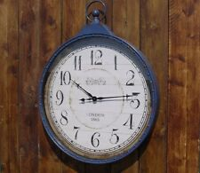 VERY LARGE WALL CLOCK INDUSTRIAL RETRO VINTAGE LOOKING CLOCK 1 METRE BLUE