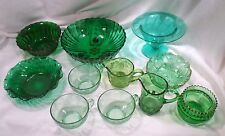 Collection 11 Green Depression Glass Items: Bowls, Cups, Compote, Pitchers