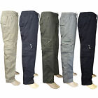 Mens Elasticated Summer Trousers Cargo Combat Stylish lightweight Work Pants