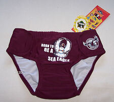 Manly Sea Eagles NRL Boys Maroon Swim Nappy Bathers Size 1 New