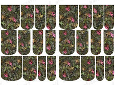 24 WATER SLIDE NAIL ART DECAL * MOSSY OAK INSPIRED W/PINK LEAF* FULL NAIL COVER