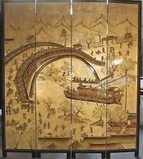 oriental furniture screen 6'x4 gold leaves lacquer room dividers
