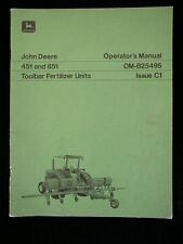 John Deere 451 651Toolbar Fertilizer Units Operator's Manual OM-B25495 Issue C1