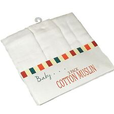 Pack of 3 Large White Muslin Square Cloths Reusable Baby Nappy Bib 100% Cotton