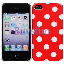 Stylish White Polka Dot Red Hard Cover Case For iPhone 4 4G 4S