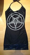 New Toxic Vision black pentagram goat sigil baphomet halterneck dress XS/S small