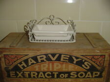 Vintage style Shabby Country Chic  Ceramic Soap Dish in metal basket