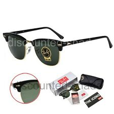 Ray Ban Clubmaster RB3016 W0365 Black/Gold G-15 Green Lens Sunglasses 49mm Small