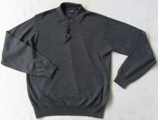 GAP Men's 100% Soft Warm Merino Wool Long Sleeve Dark Gray Polo Sweater - Small