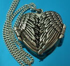 925 Sterling Silver Angel Wings Heart Locket Pendant Necklace Chain Gift Box